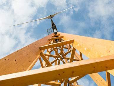 """Vindkraftverket """"Dalifanten"""" är helt byggt i trä."""