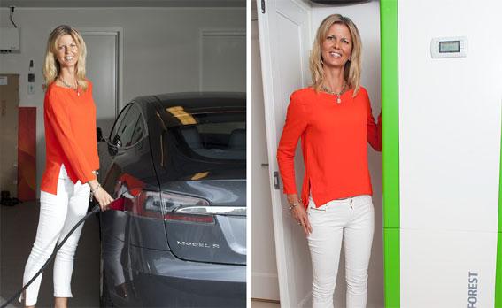 Tone Bekkestad laddar bilen med miljömärkt el och värmer huset med effektiv bergvärme.