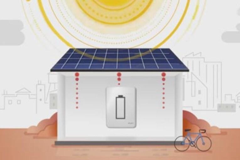 E.ON:s batteri för energilagring passar för en mindre solcellsanläggning.