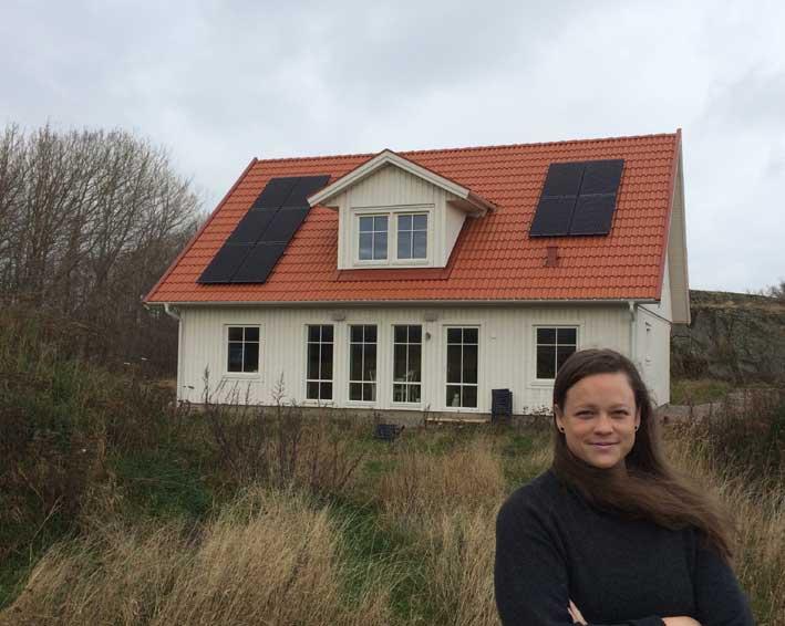 Gröna lösningar. Linné Solberg har byggt nytt hus med solceller som tillval.