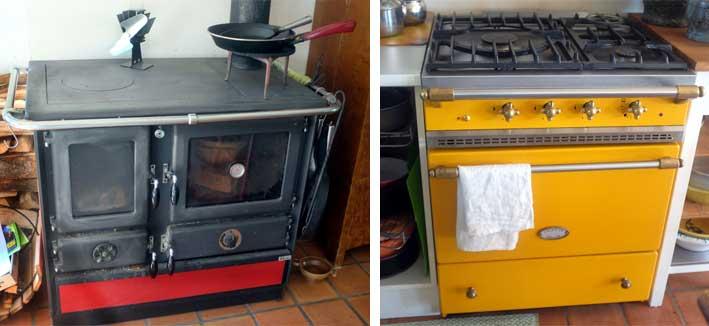 Hållbart. Vattenmantlad kökspanna och gasspis. Övriga vitvaror drivs med 12 V el, via husets batterisystem.