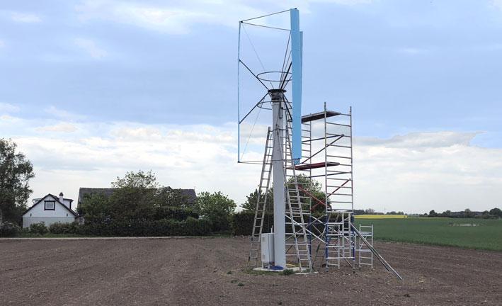 Vertikaldrivet vindkraftverk.